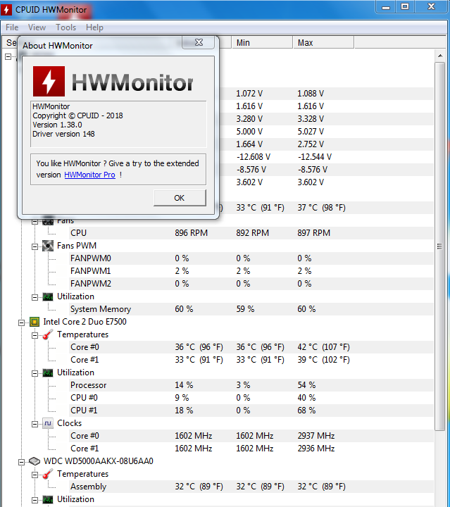 Hwmonitor portable 1 38 | CPUID HWMonitor Pro 1 38 +